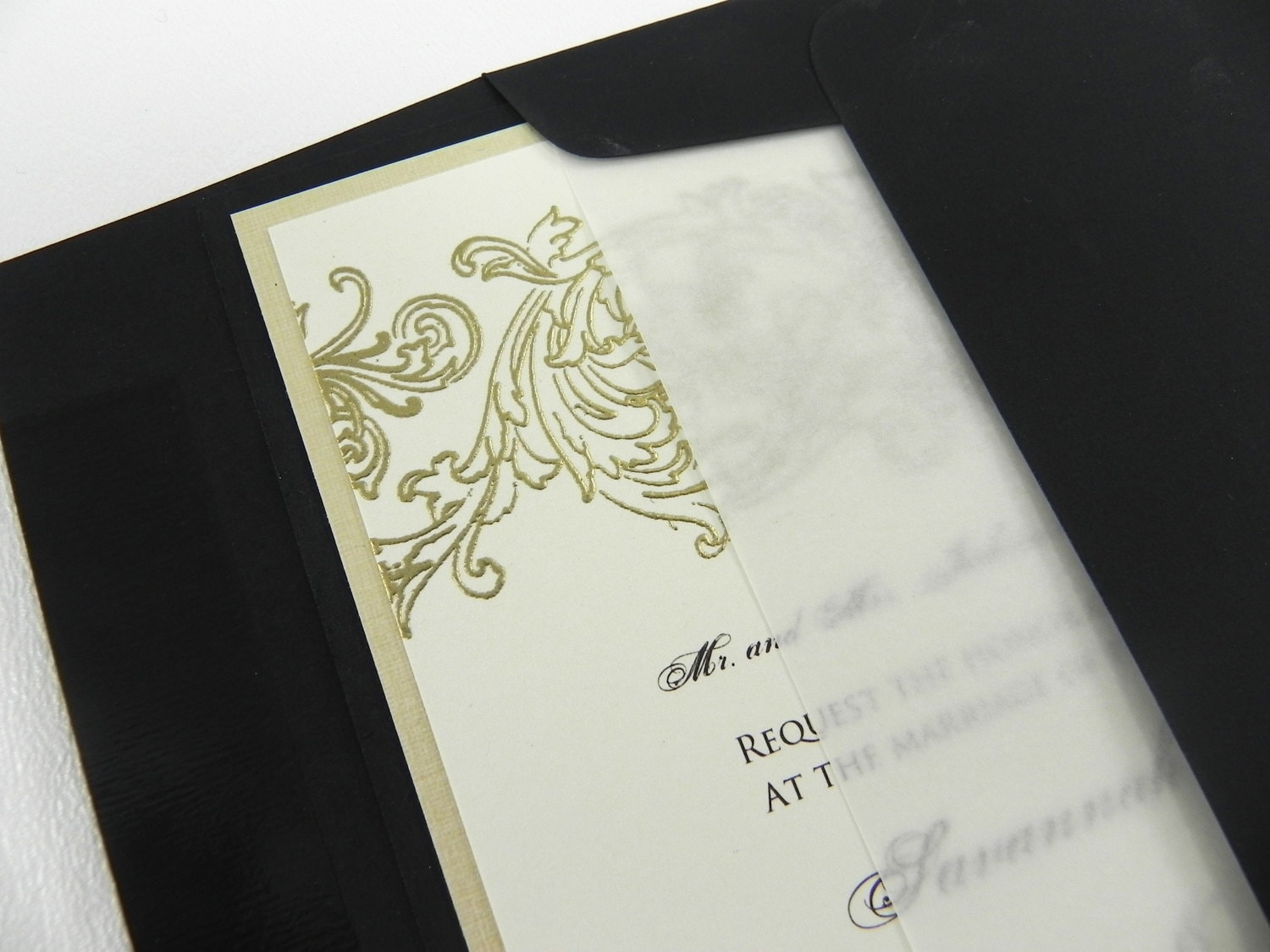 vellum inserts by white gown wedding invitations With wedding invitation vellum inserts