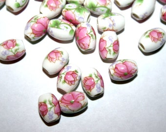 15 Lovely Pink Oval Floral Porcelain Beads