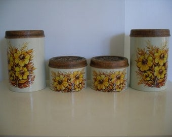 Vintage  Canister Set With Flowers
