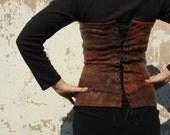 Silk wool overbust corset  Steampunk corset