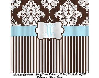 Large Damask and Stripe Personalized Shower Curtain, Baby Blue and Brown Bathroom - Monogrammed Curtain - Pamper Your Style