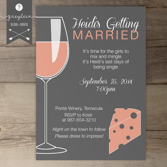 wine and cheese bachelorette party invites / invitations /, Party invitations