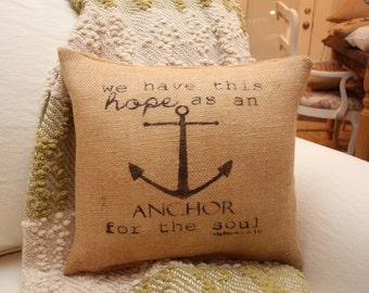 Hebrews 6:19 Burlap Throw Pillow / Anchor Pillow