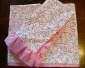 Sale - Toddler bedding - Toddler duvet cover and sham set - Pink, Black and White Roses - Toddler bedding, Girl bedding, Pink bedding