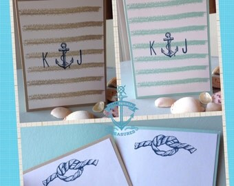 Set of 5 Nautical Monogrammed Note Cards