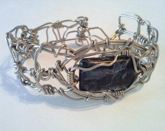 Pietersite wire wrapped bracelet, pietersite wire bracelet silver,mens or womens pietersite bracelet, pietersite jewelry mens, wire bracelet
