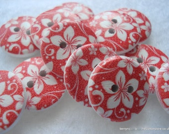 18mm Wood Buttons Red and White Flower Print Buttons Pack of 12 Red Buttons W1814