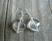 Silver Crystal Clear Dangle Earrings.   Gift for Her.