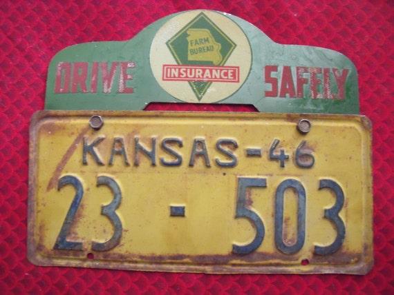 Vintage automobile farm bureau license plate topper and kansas for Bureau licence