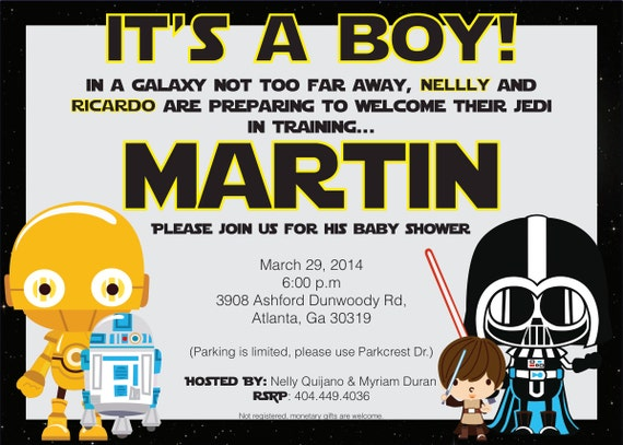 star wars baby shower birthday invitation