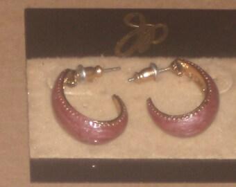 Vintage EPOXY ENAMEL HOOP Earrings