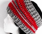 Headband Earwarmer Red & Gray Tampa Bay Buccaneers Crochet Mooglyblog