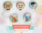 Five cats buttons