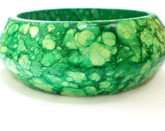 Wooden Bracelet, Decoupage Stack Bangle, Hand painted Bracelet, Green, Water color effect, Sun jewelry, with decoupage, Wooden Bangle, Boho