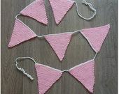 Knitted bunting for baby-girls, garland, guirlande, flags, banner