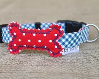 Patriotic Dog Collar - Navy Gingham with Red Dot Bone and Navy Stitching