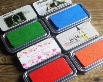 4 Pcs Tin Box Packed Stamp Pad Set - Rubber Stamp Ink Pad - Stamp Ink - 4 colors in