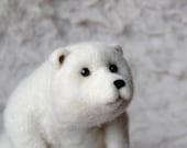Needle Felted Polar Bear, Needle Felted Animal, Bear Sculpture, Needle Felted Bear - READY TO SHIP