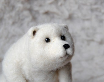 Needle Felted Polar Bear, Needle Felted Animal, Bear Sculpture, Handmade Bear - READY TO SHIP