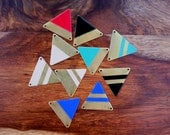 Minimalist Geometric Triangle Necklace // 14k Gold Filled Chain // Brass Triangle // Hand Painted