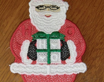 Embroidered Magnet - Christmas - Santa W/Present - Small