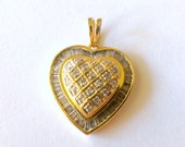 Vintage 14k Diamond Heart Pendant