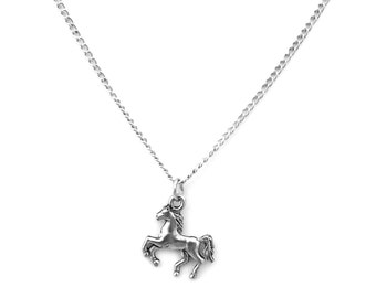 Children's Pewter Running Horse Charm on a Silver Tone Link Chain Necklace-0652