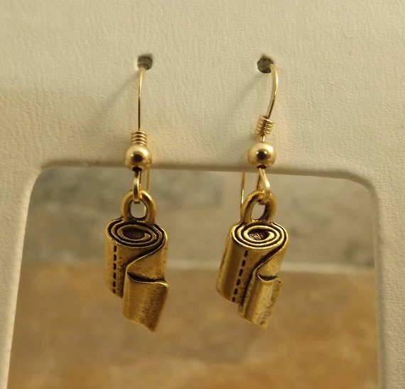 Gold Tone Pewter Toilet Paper Charms On Gold Filled Ear Wires