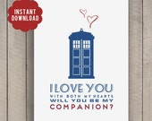 INSTANT DOWNLOAD Dr Who Two Hearts Companion card geeky 5x7