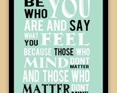 Dr Suess Childrens Be who you are modern print poster