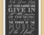MUSIC of the NIGHT Phantom of the Opera typography quote modern print poster