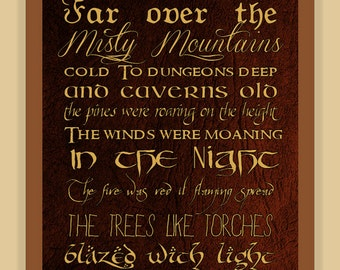 Misty Mountains Thorin's Song THE HOBBIT modern print poster