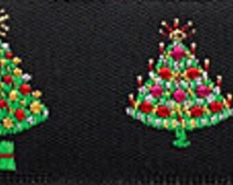 "Narrow CHRISTMAS TREES on Black Jacquard Ribbon - 7/8"""