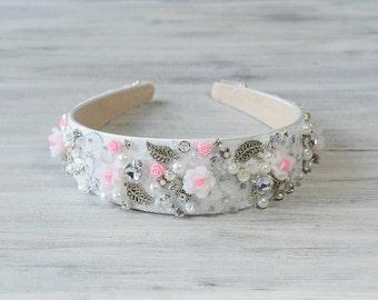 White Silver Flower Crown , Bridal Lace Crystal Tiara,  hair accessories, wide Embellished headband, wedding  headband, prom Headpiece