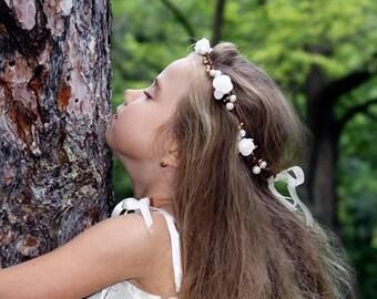 Flower Girl Crown, Hair White Roses Wreath, Flower tiara, Wedding flower head piece, rustic, photo prop
