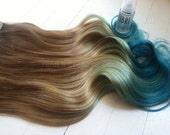 Mermaid Hair,  Ombre Hair Extensions, Dark Blonde Ombre Hair, Pastel Blue faded into Ocean Blue, Full Set, Studio She, 18""