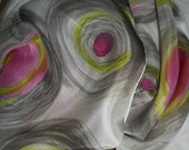 Colorful Modern Abstract Design Hand Painted Silk Scarf 11 x 60
