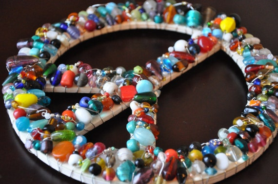 Multi-color Beaded Wooden Peace Sign Wall Art Hanging