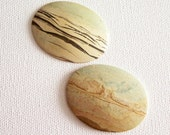 A Pair of Desert Planets Picture Jasper Cabochons for Wild Western Belt Buckles or Jewelry Crafting