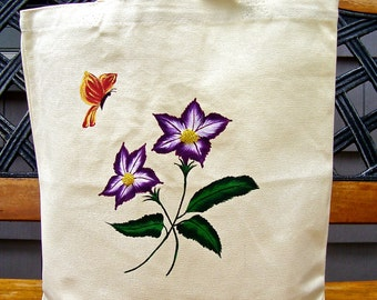 CLEARANCE SALE Hand Painted And Beaded Tote Bag With Purple Flowers and a Butterfly, Tote Bag, Christmas Gift, Teacher Gift