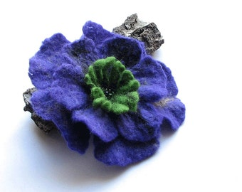 SALE  Felted Flower Brooch -- Felt Brooch -  Flower Pin - Felted Brooch VIOLET poppy felt nuno nunofelt poppy silk flower folk boho