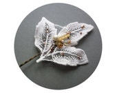 Ivory Wedding Hair Pin, a Leafy Hairpiece w/ Pearls and Beads, Ivory Bridal Leaves, Bridal Bobby Pin, Botanical Weddings, Wedding