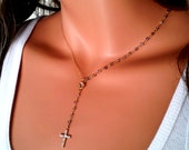 Gemstone Rosary Necklace 14kt Goldfilled Swarovski Crystal Cross Necklace Womens Iolite Necklace Girls Cross Light Blue
