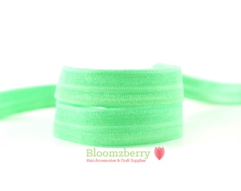 5 or 10  Yards 5/8 Fold Over Elastic - Mint Color  - Mint Fold Over Elastic - Mint Elastic - DIY Hair Accessories  Supplies