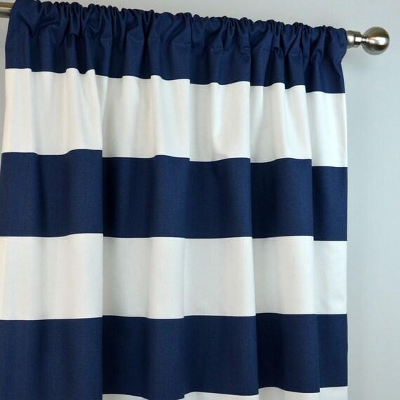 Navy Blue White Cabana Horizontal Stripe Curtains Rod Pocket
