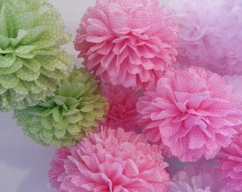 Tissue Paper Pom Poms - Set of 12