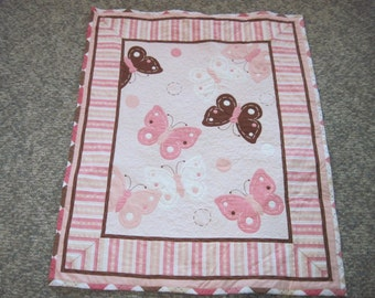 Butterfly Baby  and/or Toddler Quilt -- Pink, Brown and White Butterflies