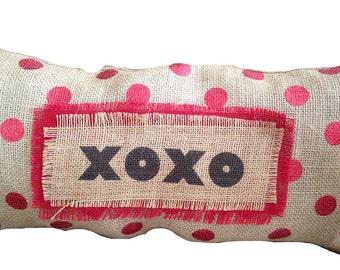 Burlap Valentines Day/XOXO Red Polka Dot Pillow