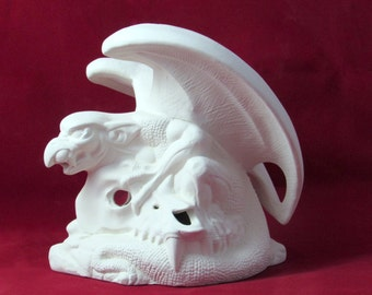 Ready to Paint Ceramic Gargoyle with Skull Incense or Candle Burner, hand painted - 7.5 inches, decor, halloween