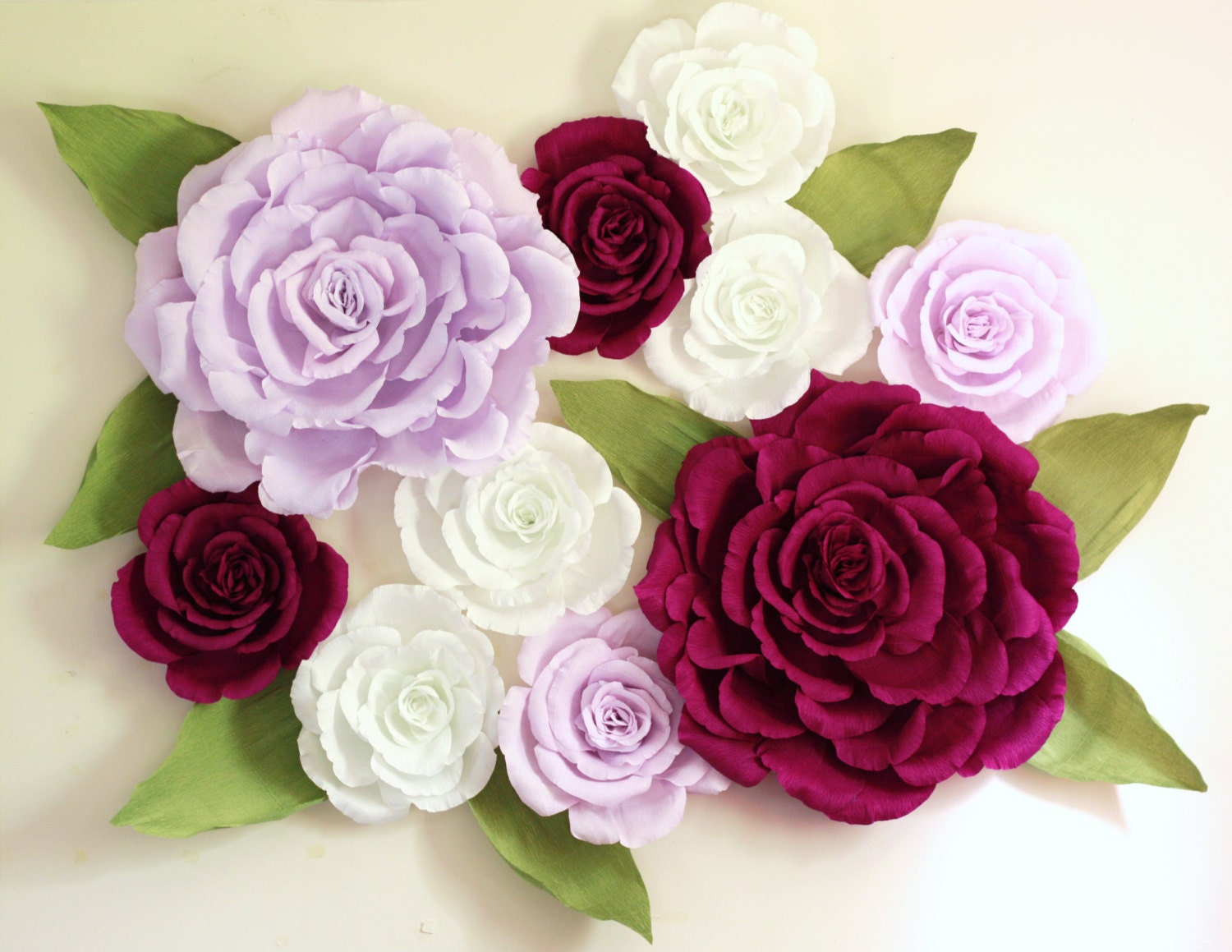 Wall Decoration Paper Flowers : Giant paper flower wall display ft purple wedding